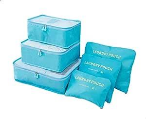 مجموعة مكعبات تغليف للسفر من دي إتش إيه أو مكونة من 6 قطع لتنظيم حقائب الأمتعة وحقائب الغسيل (6 قطع، أزرق)