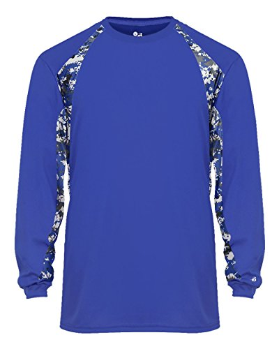 Antimicrobial Long Sleeve Jersey - Royal Blue/White Digi-Camo Adult 2XL Long Sleeve Digi-Camo Side/Sleeve Panel Performance Sports Wicking Jersey/Shirt