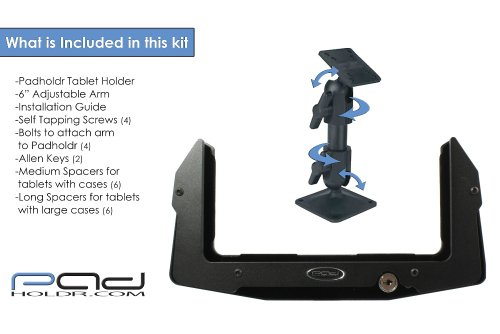 Padholdr Utility Locking Aluminum Tablet Holder with 6-Inch Medium Duty Arm for iPad and Other Tablets by PADHOLDR (Image #3)