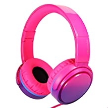 RockPapa Adjustable Stereo Foldable Folding Headphones Headsets with Microphone, Noise Isolating, Heavy Deep Bass for SmartPhones iPhone iPod iPad Laptop Tablets DVD CD Gradient Pink