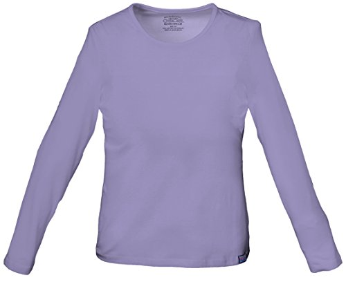 Cherokee Womens Core Stretch Long Sleeve Crew Neck Knit Tee, Orchid, X-Small (Scrubs New Natural Uniforms Top)