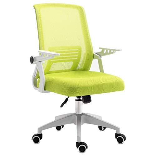 HIZLJJ Mid-Back Mesh Multifunction Executive Swivel Ergonomic Office Chair Computer Chair Home Office Chair with Adjustable Arms (Color : Green)