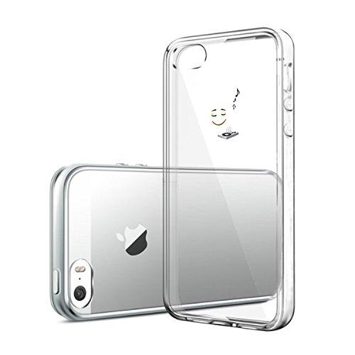 Vanki® iPhone 5/5S/SE Funda, Protectiva Carcasa de Silicona de gel TPU Transparente, Ultra delgada, , Amortigua los golpes Case Cover Para iPhone 5/5S/SE-Pandas y elefantes 1
