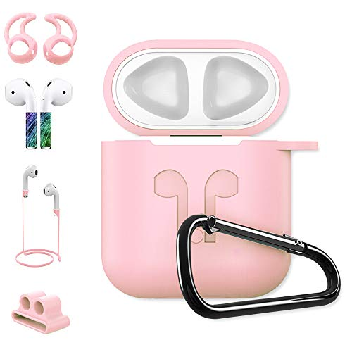 Venti Global Case Compatible with Airpords, [Accessories Set Compatible Airpods ][Ear Hook Compatible Airpods][iWatch Band Holder][Silicone Cover] Best Kit for Apple AirPods Charging (Pink) by Venti Global