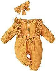 MetCuento Newborn Baby Boys Girls Romper Headband Solid Color Cotton One Piece Jumpsuit Onesie Bodysuit 0-12 Months