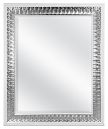 MCS 22x28 Inch Embossed Droplet Wall Mirror, 28.5x34.5 Inch Overall Size, White and Woven Silver Finish (83042), 28.5 x 34.5 Inch