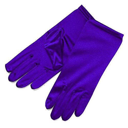 Udresses Stretch Satin Party Bridal Dance Gloves Wrist Length (Purple)
