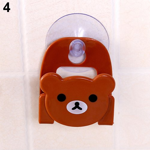 yanQxIzbiu Cartoon Animal Soap Sponge Suction Drying Holder Home Kitchen Bathroom Rack - Brown -