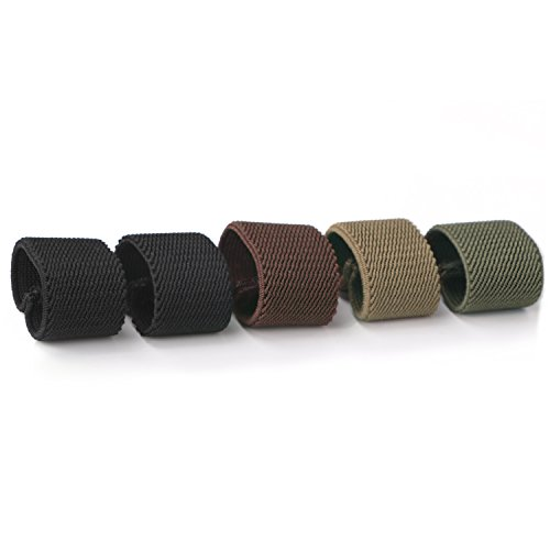 JASGOOD Nylon Canvas Web Belt Elastic Loop Keeper for 1.5inch Wide Belt(set of 5) (Black 3)