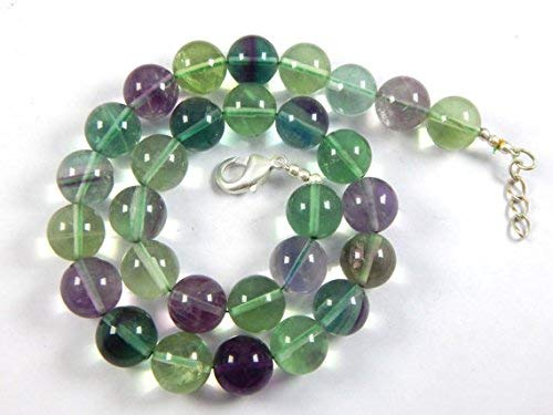 14 mm Genuine Rainbow Fluorite Puffed Coin Beads Natural Multi Color Fluorite Round Ball Beads Green Fluorite 18 inches by LadoNarayani