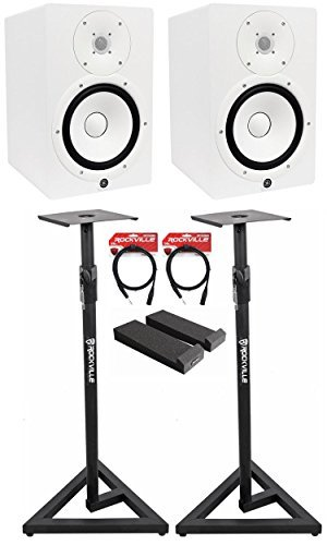 (Package: (2) Yamaha HS8 W White 2-Way Bi-Amplified Nearfield Studio Monitors + Auralex MOPAD Studiofoam Monitor Isolation Pad + Pair of Rockville RVSM1 Heavy Duty Studio Monitor Stands + 2) Rockville RCXMB6-B 6' XLR to 1/4