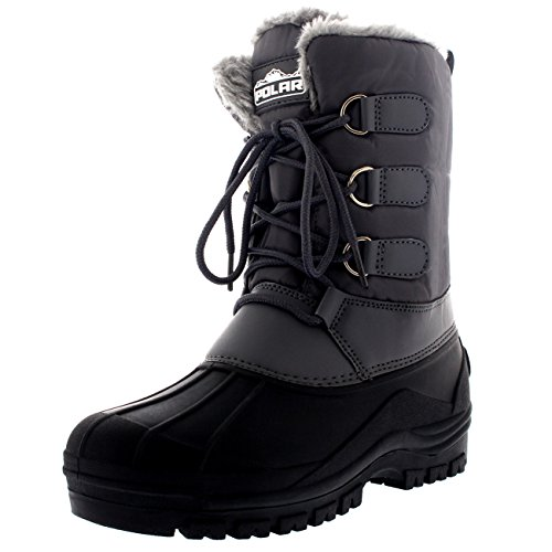(Polar Womens Hiking Duck Winter Walking Mid Calf Muck Thermal Quilted Boots - Gray - US11/EU42 - YC0336)