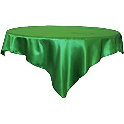 "Wedding Linens Inc.. 85"" Square satin table Overlays Toppers Tablecloths Table Overlay Cover Linens for Wedding Decoration Party Banquet Events - Emerald"