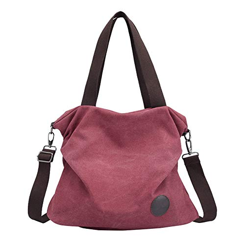 Bandolera Grande Mujer de Shoppers Lona Bolsos Hombro de Púrpura Marrón OwtAEggq0n