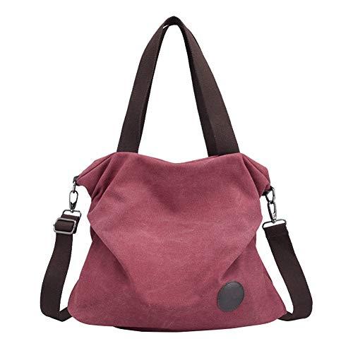 Púrpura Lona de Bandolera Grande Shoppers de Hombro Mujer Marrón Bolsos wfzHc