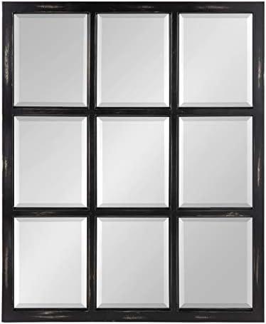 Kate and Laurel Modern Farmhouse Hogan 9 Windowpane Wood Wall Mirror