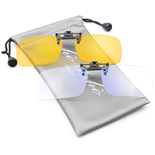 Livho Blue Light Blocking Clip-on Glasses for Computer Gaming Ultra Lightweight Filter Blue Ray & UV Blocking [Update Version] Sturdy Compatible with All Frames (2pack)