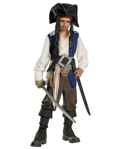 Deluxe Captain Jack Sparrow Child Costume - Small -
