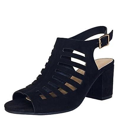 BAMBOO Women's Slingback Cut-Out Block Heel Sandal