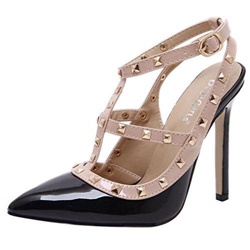 YE Damen Lack Slingback High Heels T Strap Spitze Pumps mit Riemchem und Stiletto Nieten Elegant Schuhe