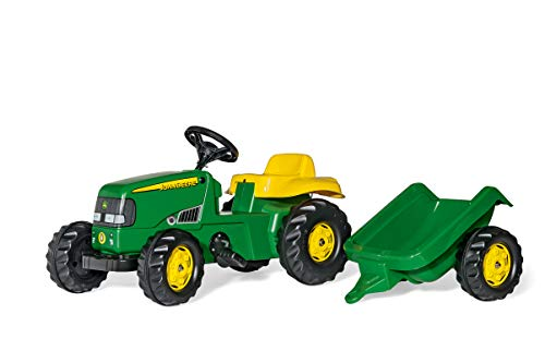 (rolly toys John Deere Kid Childrens Ride On Pedal Toy Tractor with Detachable Trailer )