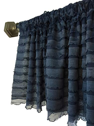 A Vision to Remember Navy Blue Sheer Ruffle Valance Extra Wide Window Treatment (Country Bedroom Blue)