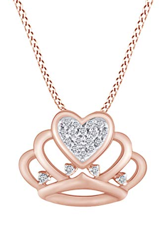 Round Cut White Natural Diamond Accents Crown Pendant Necklace In 10k Solid Rose Gold ()