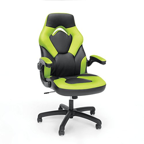 Essentials Racing Style Leather Gaming Chair - Ergonomic Swivel Computer, Office or Gaming Chair, Green (ESS-3085-GRN) - Back Traditional Leather