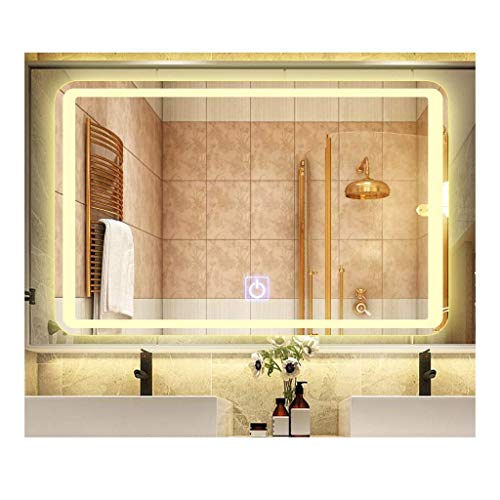Bathroom Mirror Vanity Mirror With Light Frameless Wall Mount Mirror Touch Led Smart Bathroom Mirror (Color : Yellow light, Size : 600mmX800mm) (Mm 600 Vanity)