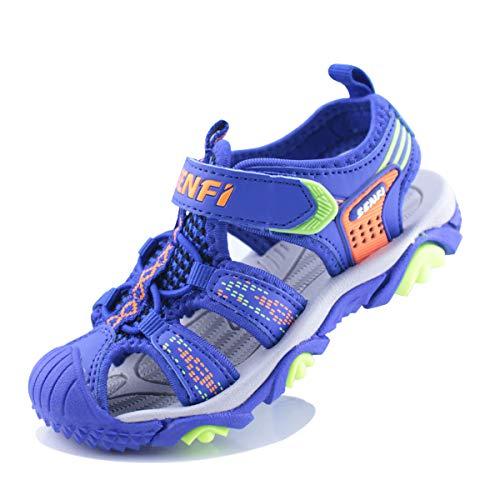 SENFI Boys Sport Sandal Summer Breathable Closed-Toe Strap Walking Shoes,BSF-blue-31