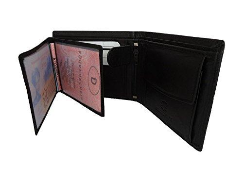 NB24 Versand Herren Geldbörse (992c), Echtes Leder, Größe ca. 11,5 x 9 x 2,5 cm, schwarz