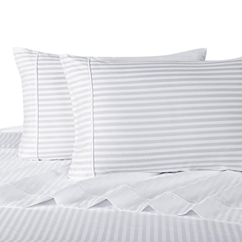 Sheetsnthings 100% Cotton Bed Sheet Set, 300 Thread Count - Twin Extra Long (XL), White Stripes - Deep Pocket, 3PC Sheets