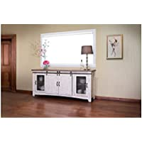 Crafters and Weavers Granville White 80 TV Stand / Sideboard / Console Table with Sliding Doors