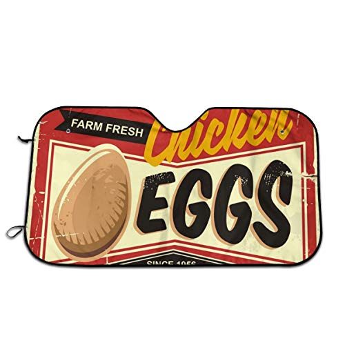 Farm Fresh Chicken Eggs Vintage Promotional Sign Car Windshield Sun Shade Car Window Shade Front Windshield Side Window Car Sun Shades for General Models Such As Cars and SUVs Keep Your Vehicle Cool