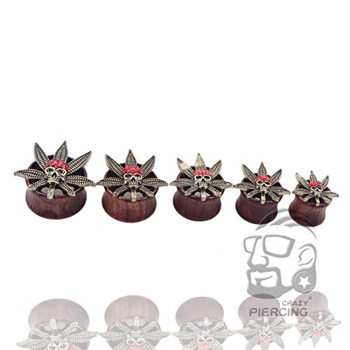 Best Quality - Body Jewelry - Piercing Flesh Tunnel Plug Body Jewelry Fashion Skeleton with Maple Leaf Ear Plugs 12mm - 20mm Wholesale 50 pcs/lot - by SeedWorld - 1 PCs