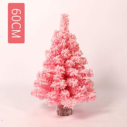 (XIAOMEI Luxury Artificial Desktop Christmas Tree Flocked Snow Pine Mini Gift Christmas Decoration(Pink)-C 60cm(24inch))