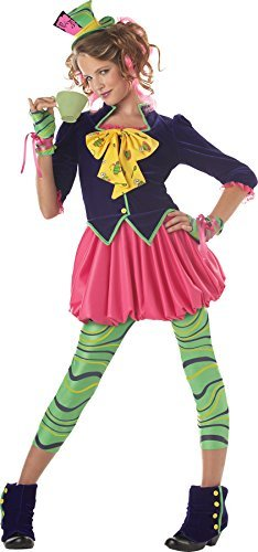 Girls The Mad Hatter Teen Kids Child Fancy Dress Party Halloween Costume, L (10-12)