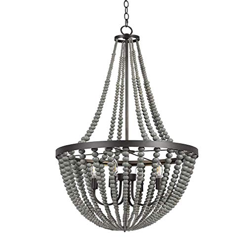 Bead Chandelier - Stone & Beam Modern Farmhouse Wood Bead Chandelier Ceiling Fixture With 4 LED Light Bulbs - 24 x 24 x 45.5 Inches, Grey