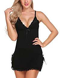 Avidlove Women Lingerie Modal Sleepwear Lace Babydoll Mini Full Slips