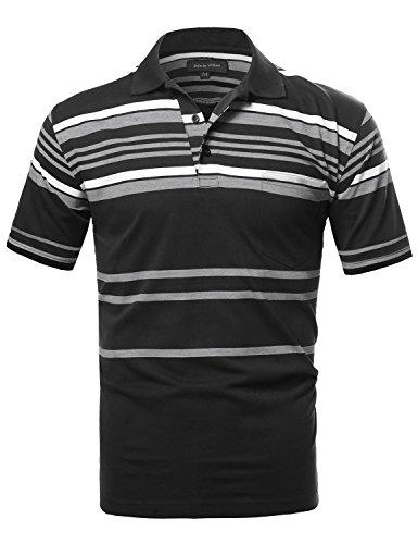 SBW Men's Basic Everyday Stripe Polo T-Shirt