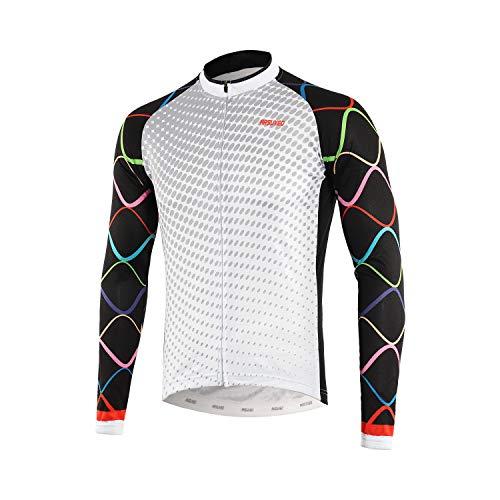 b7b7a553101 ARSUXEO Men s Printed Cycling Jersey Long Sleeves Mountain Bike Shirt MTB  Top Zipper Pockets Reflective Z922 Large