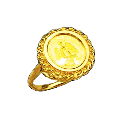 - 14K Gold 18 Mm Ladies Coin Ring With A 22K Mexican Dos Pesos Coin - Random Year Coin