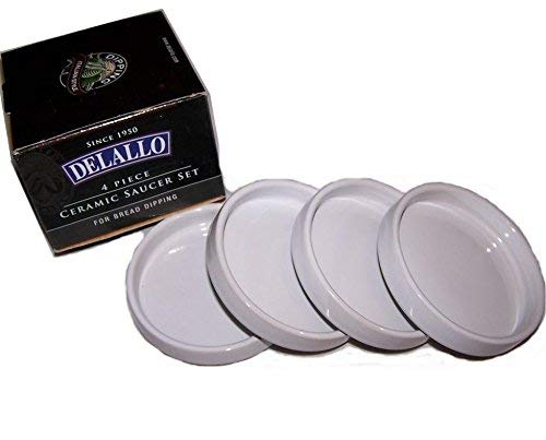 Saucer Bread Plate - Detallo B004UCC0IE Delallo-4 Piece Ceramic Saucer Set for Bread Dipping, 1, White
