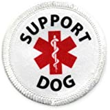 Service SUPPORT Dog 2 inch White Rim Sew-on Patch