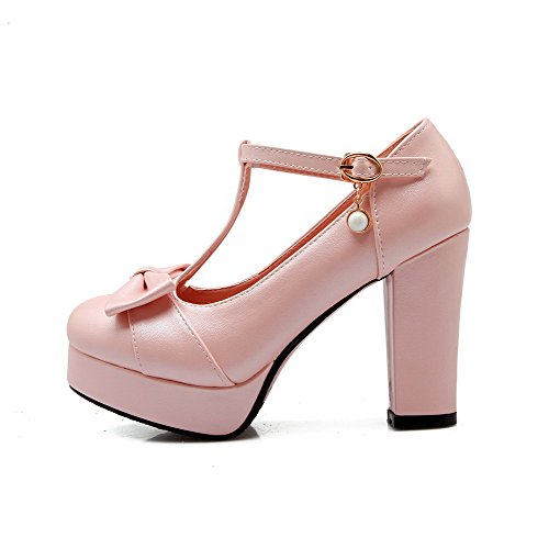 WeenFashion Women's Buckle Toe Solid Round Pink Heels Pumps Soft Shoes Closed High Material rrqdwBz