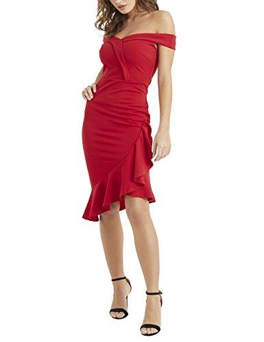 Bubble Hem Baby Doll - LIPSY Womens Bardot Ruffle Hem Bodycon Dress Red US 14 (UK 18)
