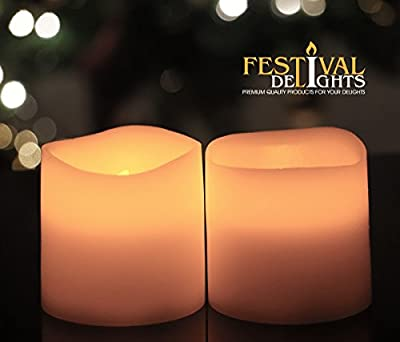 """Battery Operated Candles By Festival Delights® - 3.125""""x3"""" - 2 Pcs Unscented Flameless Candles, LED Candles, Flameless Candle Set, Votive Candles, Decorations, Wedding Favors, Souvenirs, Centerpieces, Valentines Day Gifts,valentine Day Gifts, Valentines D"""