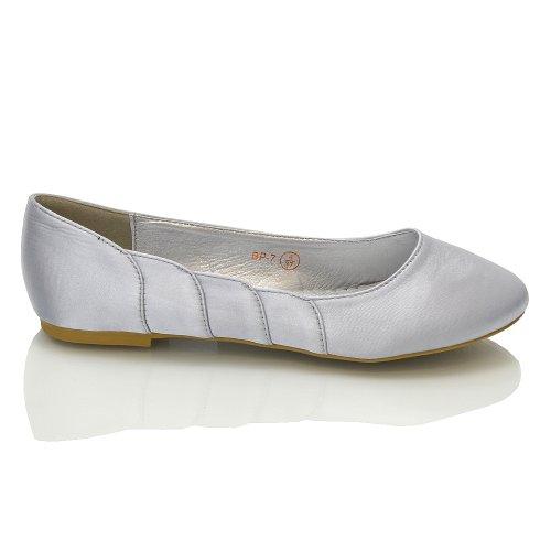 Essex Glam - Damen Satin Ballerinas Silber Satin