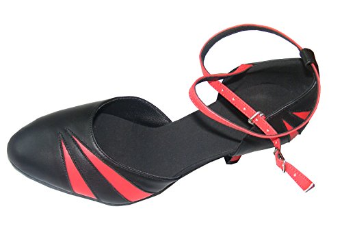 Salón superior genuino 5CM Modern Dos mujeres EU38 Rojo ~ de rojo baile EU41 baile Grado Negro de Waltz las 24 de Tango cuero EU36 zapatos de Negro zCwd77nqI