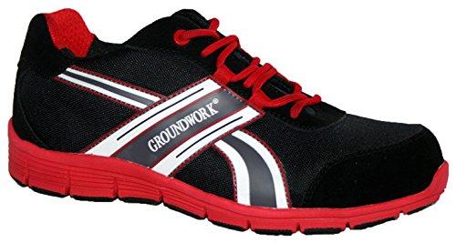Groundwork Zapatillas de atletismo ultraligeras para hombre con puntera de acero para mayor seguridad, de cordones negro/ rojo